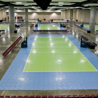 Canchas de voleibol interior azul y verde